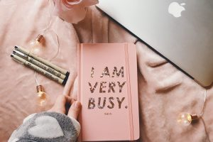 I am very busy journal. This represents looking at your life to see what is causing stress and burnout in therapy for stress management. I am a counselor in Houston, TX 77006.