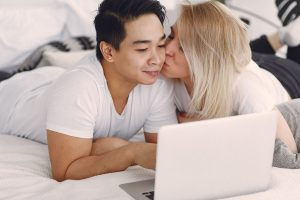 Happy adult couple after online counseling for relationship issues in Texas   Houston therapist   Natalie Mica LPC   77006